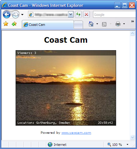 Screenshot: Yawcam in a browser