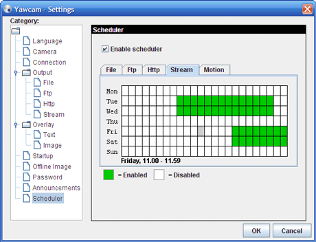 Screenshot: The scheduler